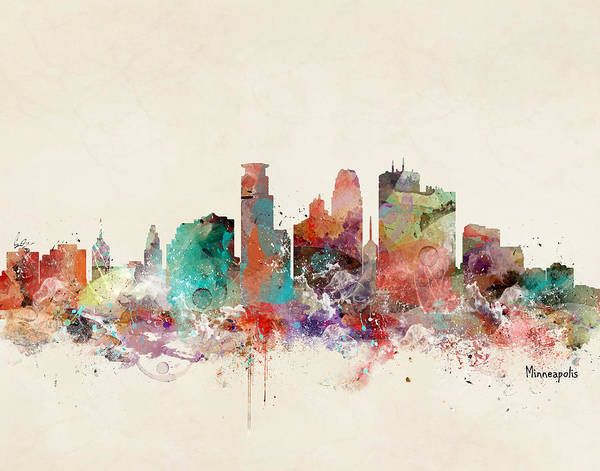 Minneapolis Painting - Minneapolis Minnesota Skyline by Bri Buckley