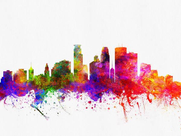 Minneapolis Digital Art - Minneapolis Minnesota Skyline Color02 by Aged Pixel