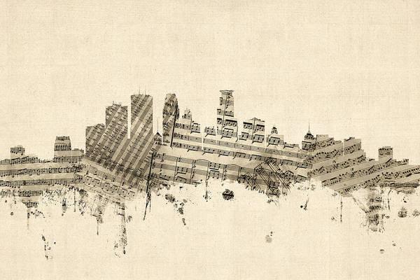 Wall Art - Digital Art - Minneapolis Minnesota Skyline Sheet Music Cityscape by Michael Tompsett