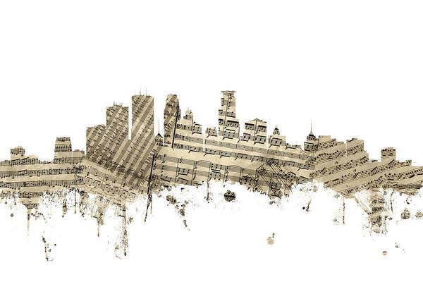 Wall Art - Digital Art - Minneapolis Minnesota Skyline Sheet Music by Michael Tompsett