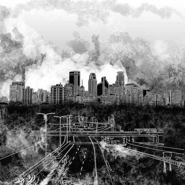 Monochromatic Painting - Minneapolis Skyline Abstract 2 by Bekim Art