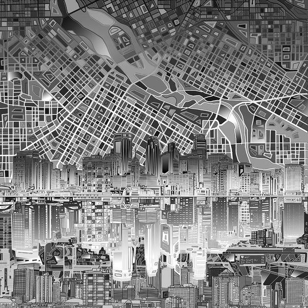 Minneapolis Painting - Minneapolis Skyline Abstract 4 by Bekim M