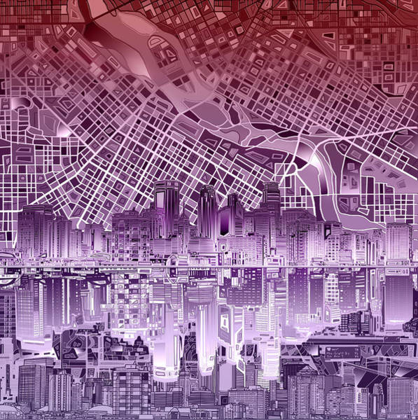 Minneapolis Painting - Minneapolis Skyline Abstract 5 by Bekim M