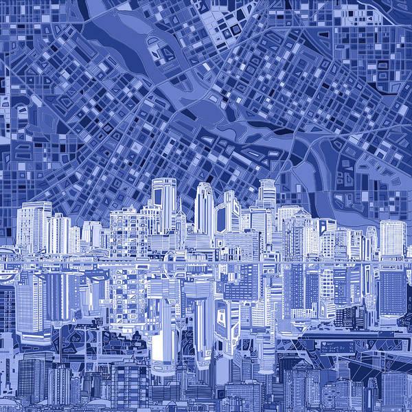 Minneapolis Painting - Minneapolis Skyline Abstract 6 by Bekim M