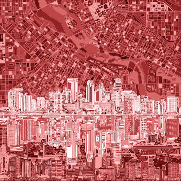 Minneapolis Painting - Minneapolis Skyline Abstract 7 by Bekim M