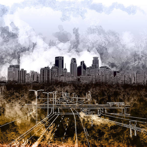 Monochromatic Painting - Minneapolis Skyline Abstract by Bekim Art
