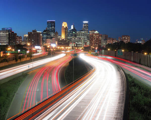 Photograph - Minneapolis Skyline And Traffic Flow by Jim Hughes