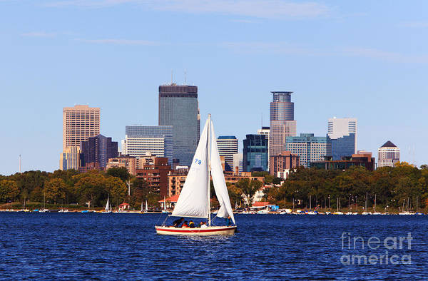 Wall Art - Photograph - Minneapolis Skyline Lake Calhoun Sailing by Wayne Moran