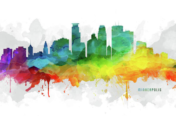 Wall Art - Digital Art - Minneapolis Skyline Mmr-usmnmi05 by Aged Pixel