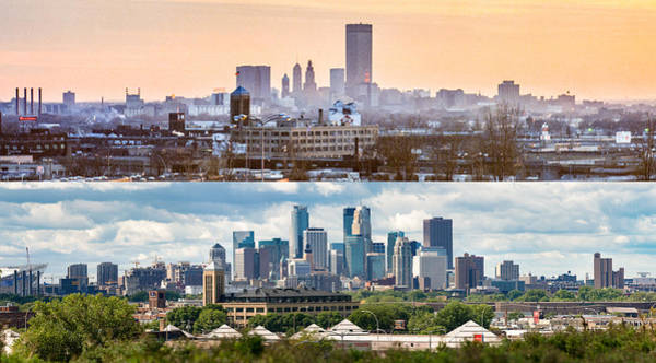 Photograph - Minneapolis Skylines - Old And New by Mike Evangelist