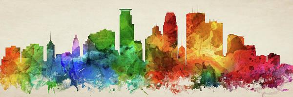 Minneapolis Digital Art - Minneapolis Skyline Panorama Usmnmi-pa03 by Aged Pixel