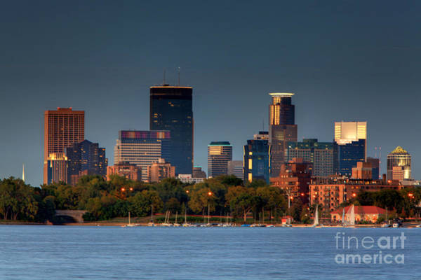 Minneapolis Photograph - Minneapolis Skyline Photography Lake Calhoun Summer Evening by Wayne Moran