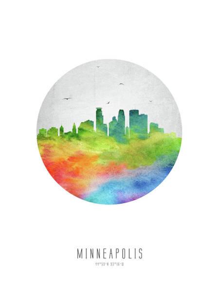 Minneapolis Digital Art - Minneapolis Skyline Usmnmi20 by Aged Pixel