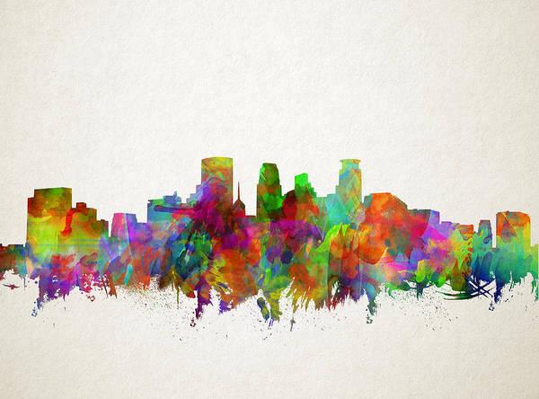 Minneapolis Painting - Minneapolis Skyline Watercolor 2 by Bekim M