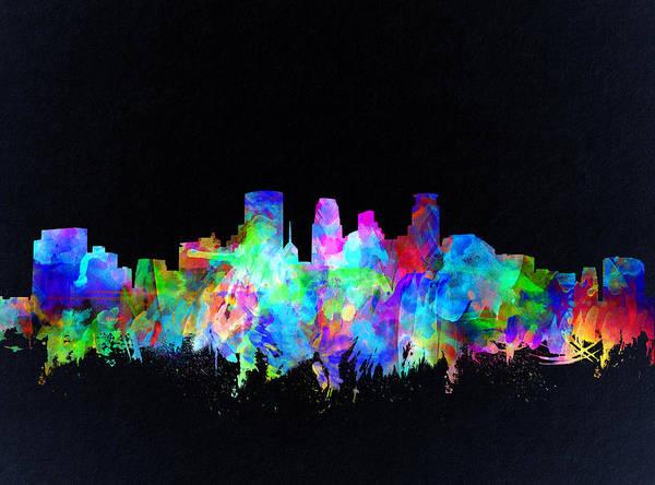 Minneapolis Painting - Minneapolis Skyline Watercolor 3 by Bekim M