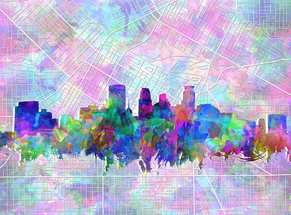 Mississippi River Wall Art - Painting - Minneapolis Skyline Watercolor by Bekim Art