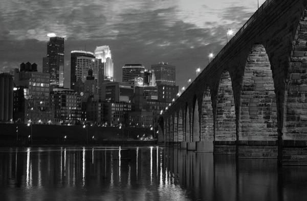 Midwest Photograph - Minneapolis Stone Arch Bridge Bw by Wayne Moran
