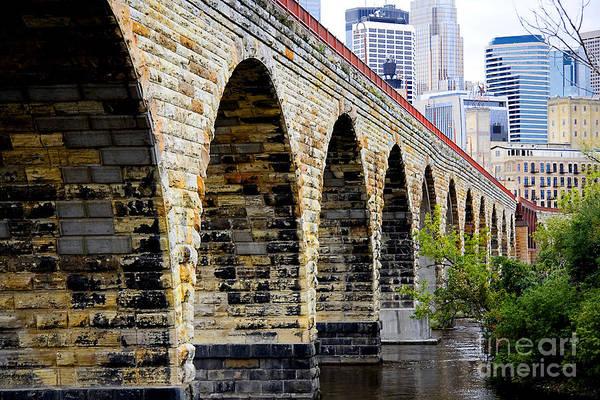 Wall Art - Photograph - Minneapolis Stone Arch Bridge Old And New by Wayne Moran