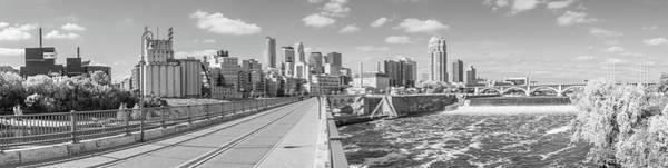 Twin Cities Photograph - Minneapolis Stone Arch Bridge Panorama by Jim Hughes