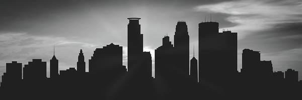 Minneapolis Digital Art - Minneapolis Sunset Usmnmi-pa02 by Aged Pixel
