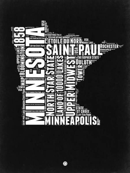 Wall Art - Digital Art - Minnesota Black And White Word Cloud Map by Naxart Studio