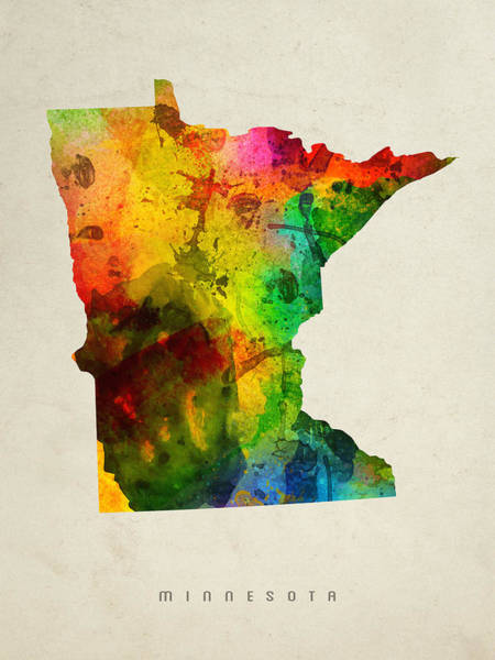 Minnesota Painting - Minnesota State Map 01 by Aged Pixel