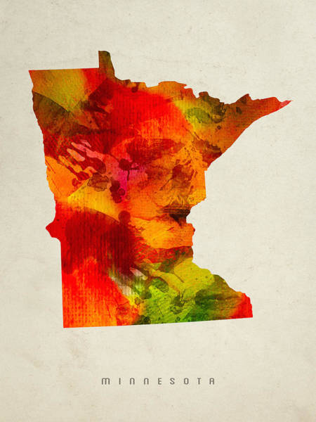Minnesota Painting - Minnesota State Map 04 by Aged Pixel
