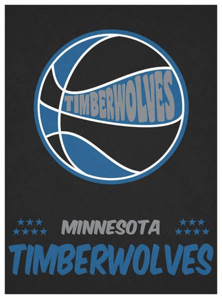 Wall Art - Mixed Media - Minnesota Timberwolves Vintage Basketball Art by Joe Hamilton