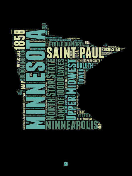 Minneapolis Digital Art - Minnesota Word Cloud Map 1 by Naxart Studio