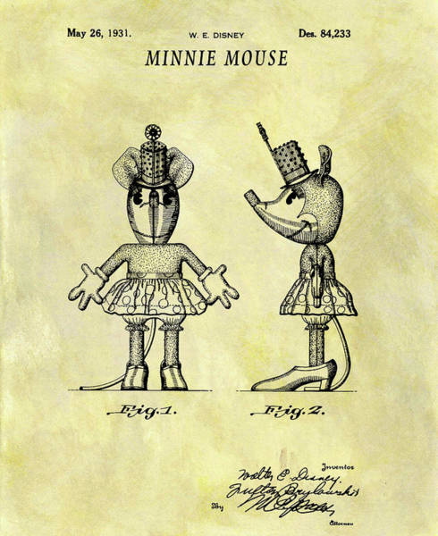 Drawing - Minnie Mouse Design by Dan Sproul
