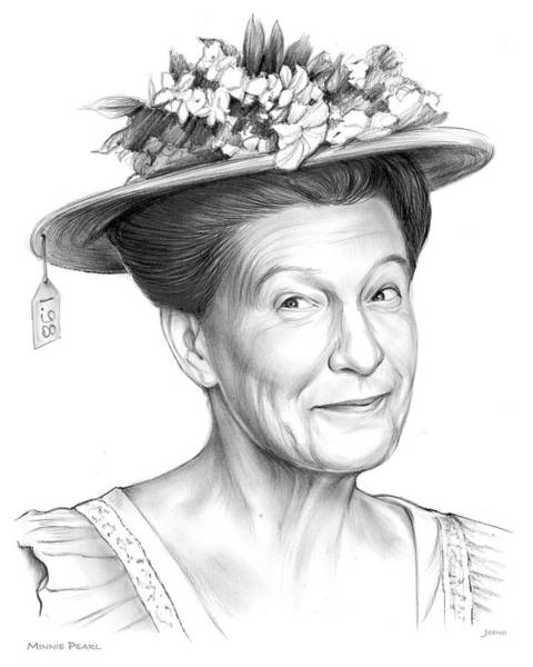 Nashville Wall Art - Drawing - Minnie Pearl by Greg Joens