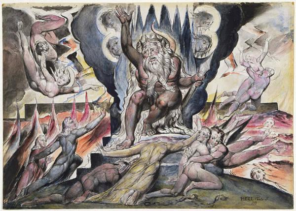 William Blake Drawing - Minos by William Blake