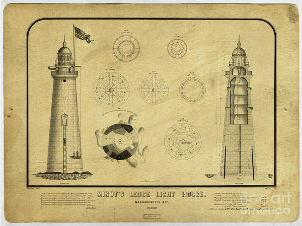 Drawing - Minot's Ledge Light House. Massachusetts Bay by Edward Fielding