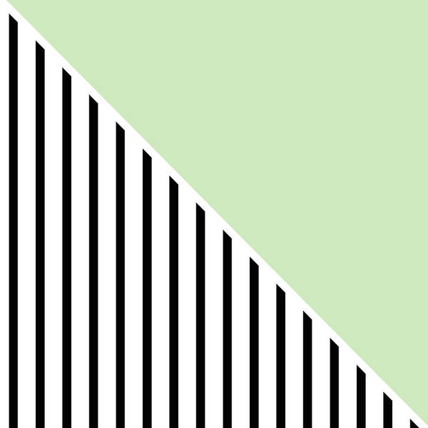 Digital Art - Mint And Black Geometric by Linda Woods