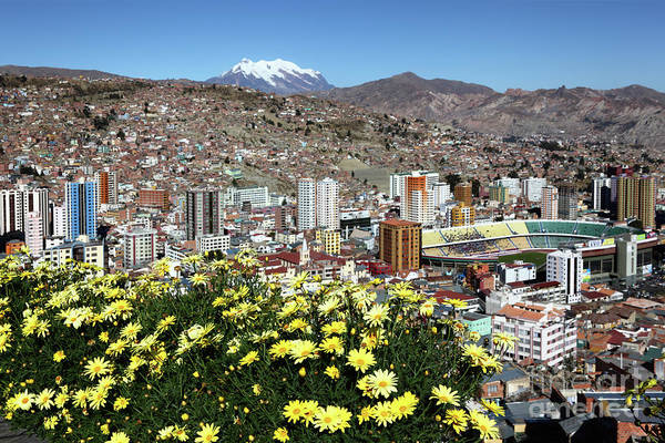 Photograph - Miraflores District And Hernando Siles Stadium La Paz Bolivia by James Brunker