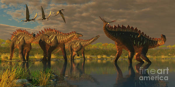 Primeval Painting - Miragaia Dinosaurs by Corey Ford