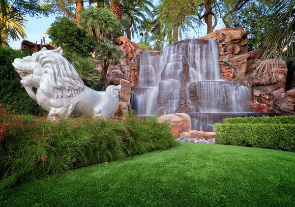 Lion Statue Photograph - Mirage Waterfalls IIi by Ricky Barnard