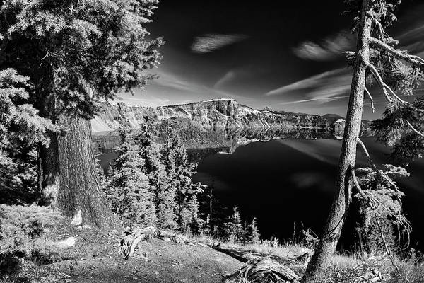 Photograph - Mirror At Crater Lake B W by Frank Wilson