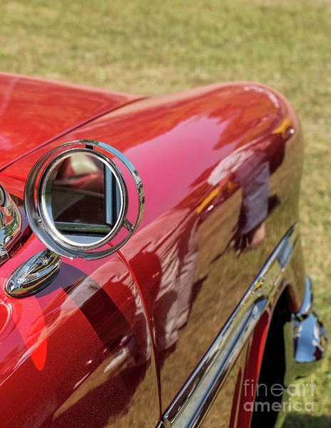 Photograph - Mirror On A Red Classic Car by Les Palenik