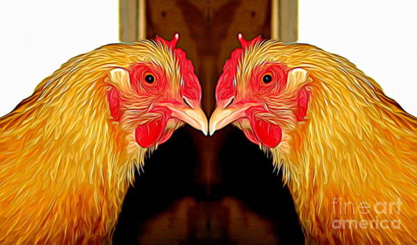 Mixed Media - Mirrored Bird Series Chickens Expressionist Effect by Rose Santuci-Sofranko