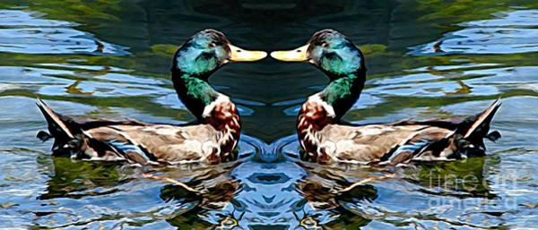 Mixed Media - Mirrored Bird Series Duck Melting Colors Effect by Rose Santuci-Sofranko