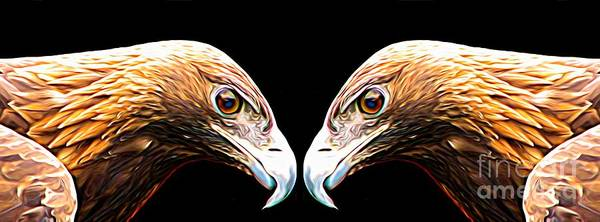 Mixed Media - Mirrored Bird Series Golden Eagles Expressionist Effect by Rose Santuci-Sofranko