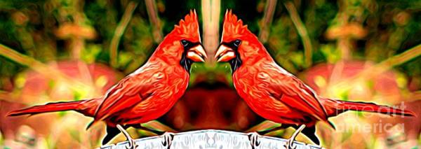 Mixed Media - Mirrored Bird Series Male Northern Cardinals Expressionist Effect by Rose Santuci-Sofranko