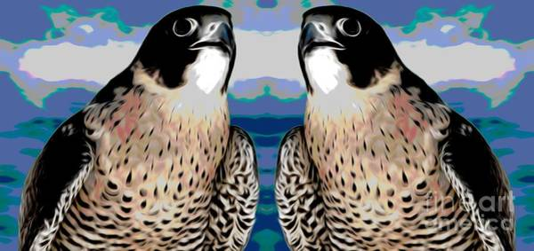 Mixed Media - Mirrored Bird Series Peregrine Falcons Chinese Lantern Smudge Effect by Rose Santuci-Sofranko