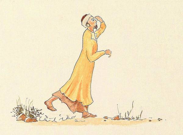 Baghdad Painting - Mirza Asadu'llah Catching A Last Glimpse Of Baha'llah by Sue Podger
