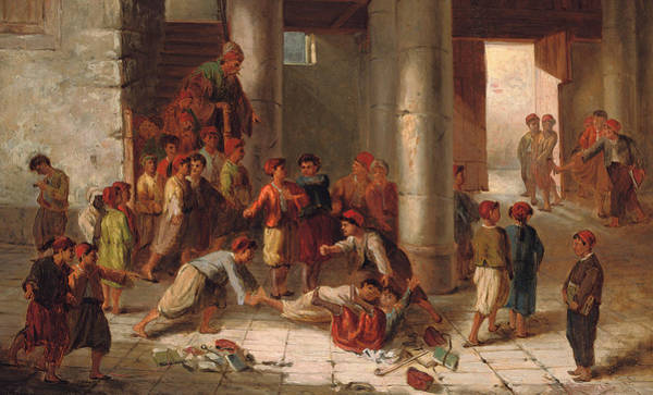 Bully Painting - Mischief In The Schoolyard by Julius Joseph Gaspard Starck