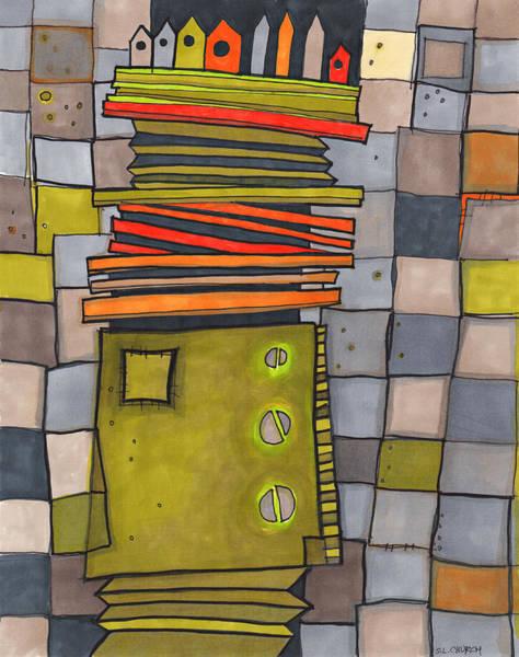 Semi Abstract Drawing - Misconstrued Housing by Sandra Church