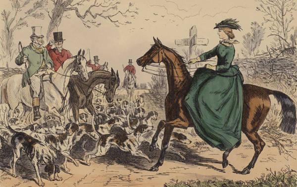 Fox Hunt Wall Art - Painting - Miss De Glancey Captivates The Earl by John Leech