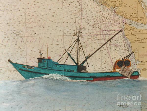 Warrenton Wall Art - Painting - Miss Joanie Trawl Fish Boat Nautical Chart Map by Cathy Peek