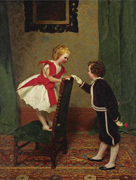 Wall Art - Painting - Miss Lily's First Flirtation by James Hayllar